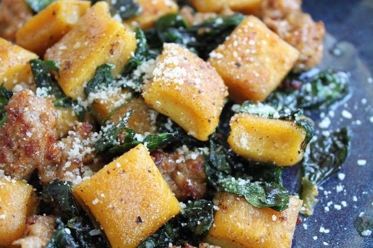 Pumpkin Ricotta Gnocchi with Italian Sausage & Wilted Basil Recipe on ...