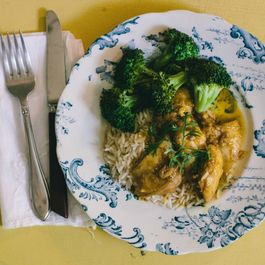 Orange Pan-Glazed Chicken with Broccoli and Rice