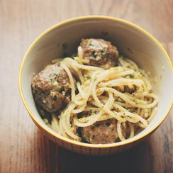 Roasted Broccoli Pesto Spaghetti with Veal-Ricotta Meatballs