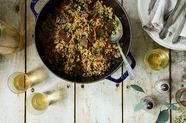 Spiced Uzbekistani Plov (Pilaf) With Herbs, Scallions & Peas