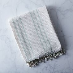 Carry Handle Striped Beach Throw