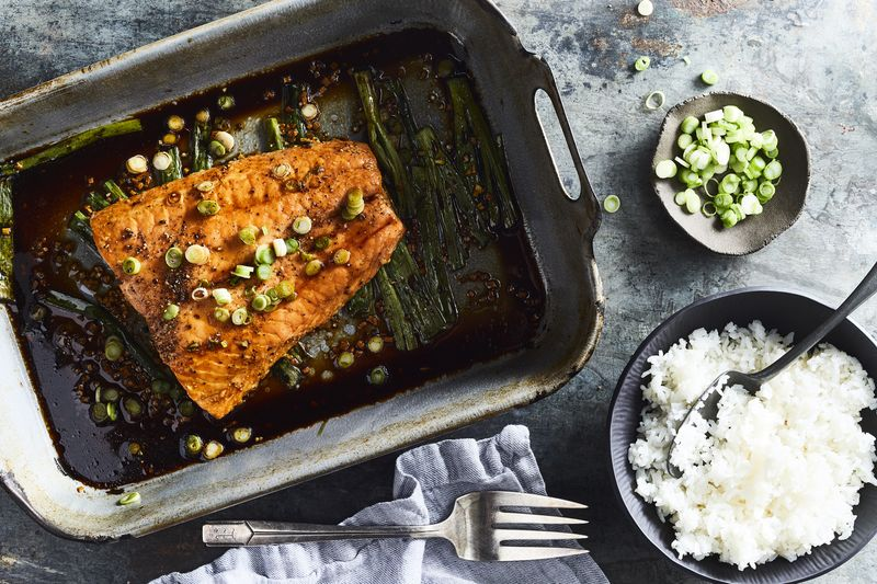Those soy saucy scallions beneath the salmon are one of the best parts.