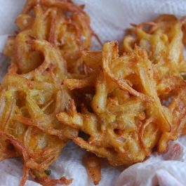 Onion pakoda (A spicy Indian snack of which the main ingredient is onions)
