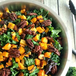 Winter Kale Butternut Squash Salad With Candied Pecans
