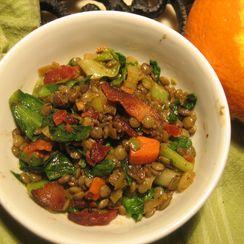 Orange-Scented Lentil Salad with Wilted Escarole