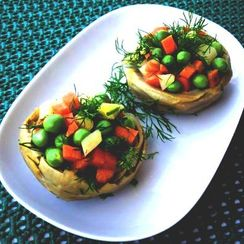 Artichoke Hearts with Olive Oil and Peas