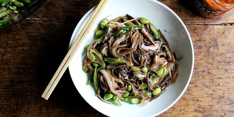 A tangle of saucy noodles and vegetables