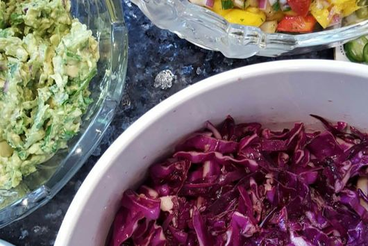 Red Cabbage Slaw with Honey-Lime-Cumin Vinaigrette