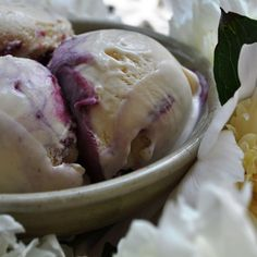 Peony Ice Cream with a Blackberry Honey Swirl