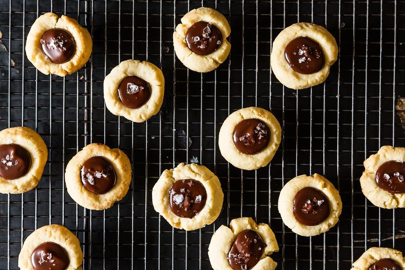 Almond Thumbprint Cookies with Dark Chocolate and Sea Salt