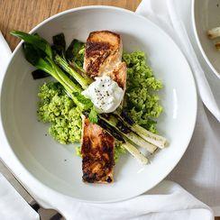 Tzatziki Marinated Salmon with Edamame Mint Mash and Charred Scallions