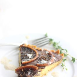 Orange Curd Tart with Dark Chocolate Ganache and Thyme Infused Cream