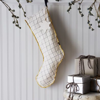Linen Windowpane & Oatmeal Stocking