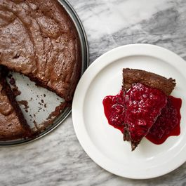 Dark Chocolate Date Cake with Raspberry-Maple Topping