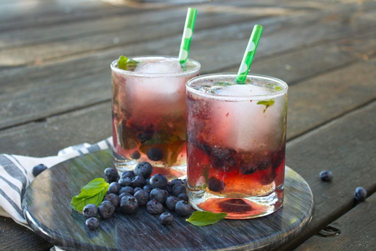 Honey Basil Bourbon Blueberry Smash