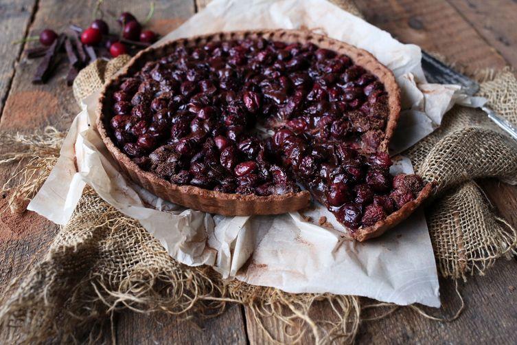 Dark Chocolate & Cherry Bourbon Tart
