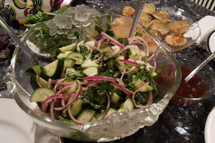 Persian Cucumber Salad with Red Onion & Thai Basil