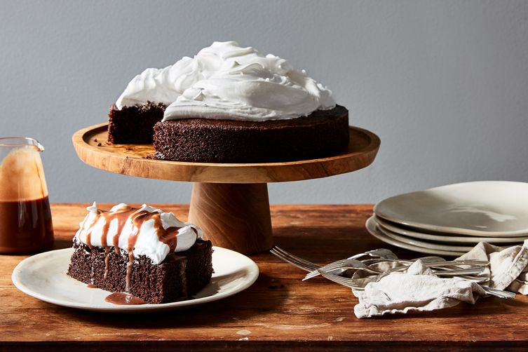 Hot Cocoa Cake with Peppermint-Marshmallow Frosting