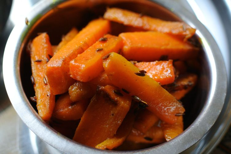 Carrots infused with cumin a.k.a Gajar bhaji