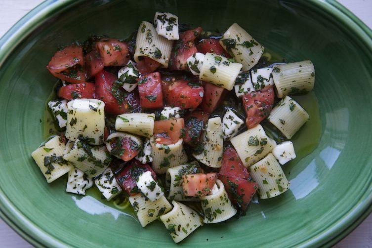 Mezzi Rigatoni with Tomatoes, Lots of Herbs, Hot Oil, and Mozzarella