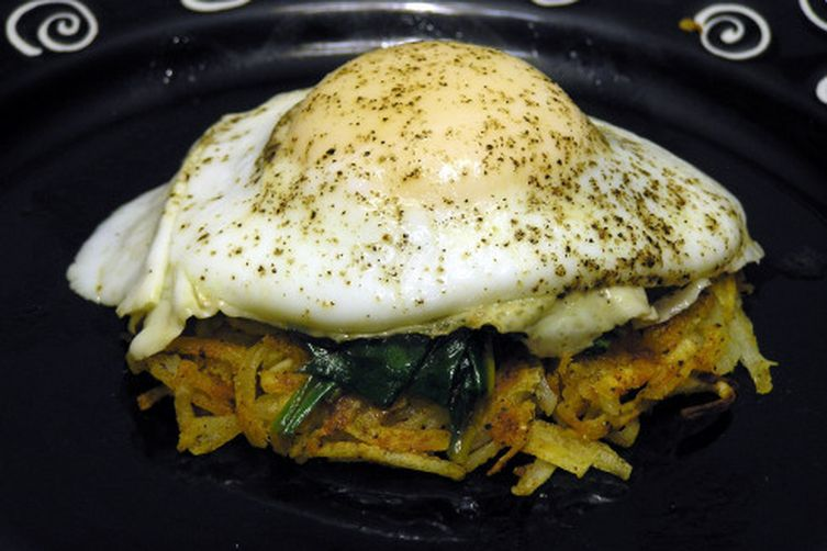 Hash Browns, Spinach, and Froached Egg Stack