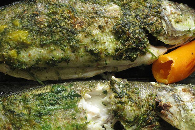 Chili pesto seabass
