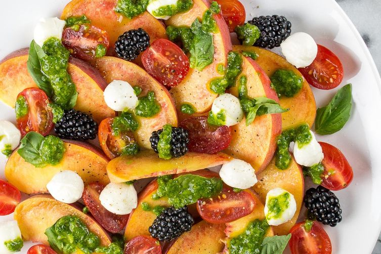 Peach & Mozzarella Salad with Basil Vinaigrette
