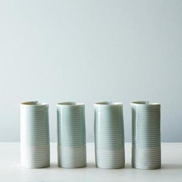 Porcelain Ribbed Tumblers (Set of 4)