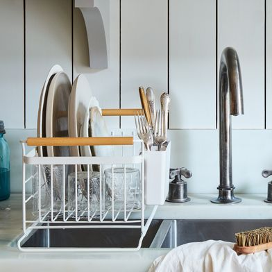 Over the Sink Wood-Handled Dish Rack