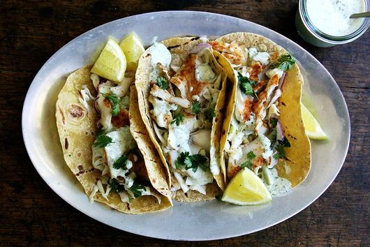 Skillet-Grilled Fish Tacos with Cilantro-Lime Crema