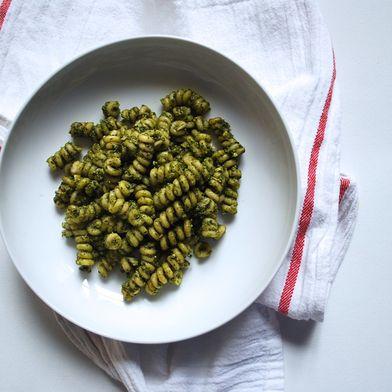 Pasta with Creamy Basil-Almond-Ricotta Sauce