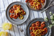 Grilled Sambal Shrimp with Peach Salsa