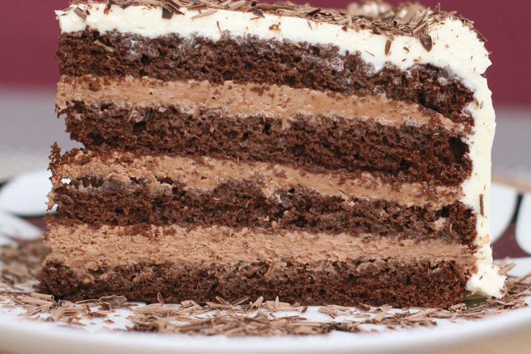 Good Layered Cake Recipes: Chocolate Layer-mousse Cake With Cognac And Bittersweet
