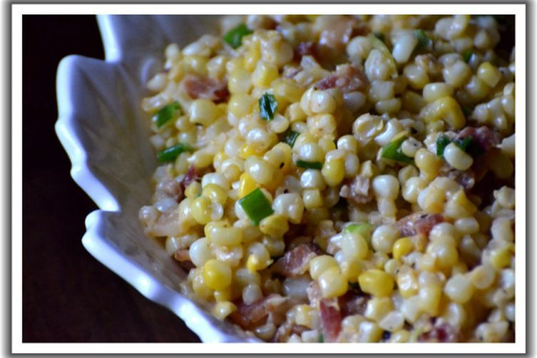 Smoky Creamed Corn with Bacon & Scallions