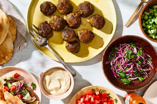 Lamb Meatballs With Tahini Sauce & Red Onion Salad