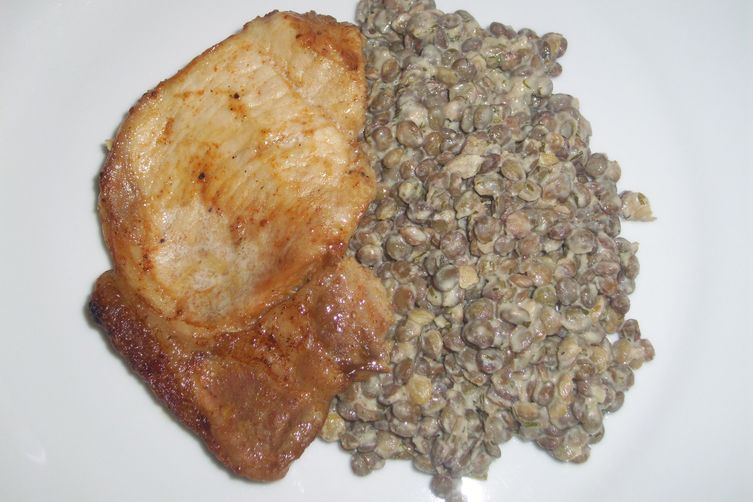 Oven bake pork cutlets with green lentil salad‏