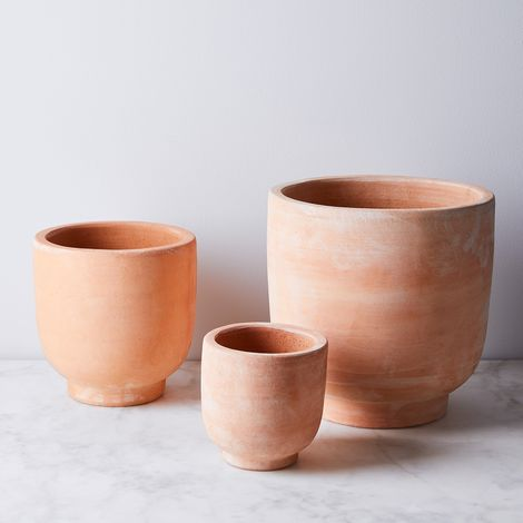Footed Terra-Cotta Planters