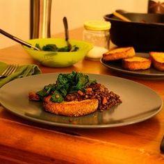 Red Wine Braised Lentils with (Veggie) Sausage