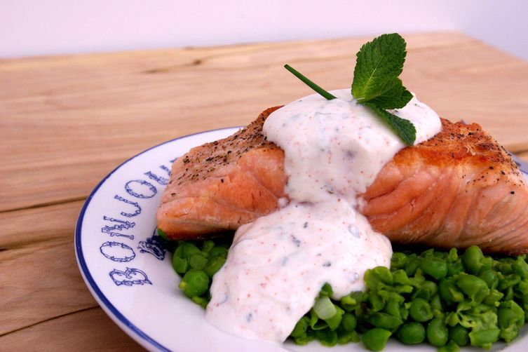 Pan Seared Salmon with Mashed Peas and Mint Raita
