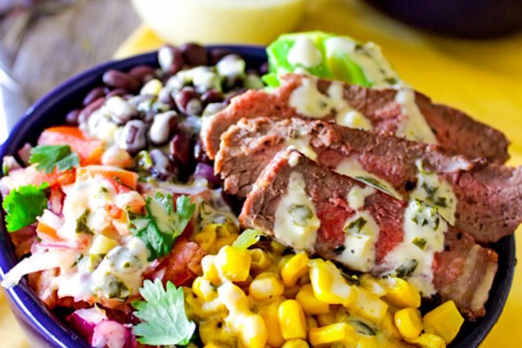 Steak and Veggie Bowls with Lime-Cilantro Cream Sauce