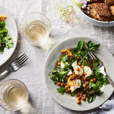 Herb Salad with Chickpeas and Feta