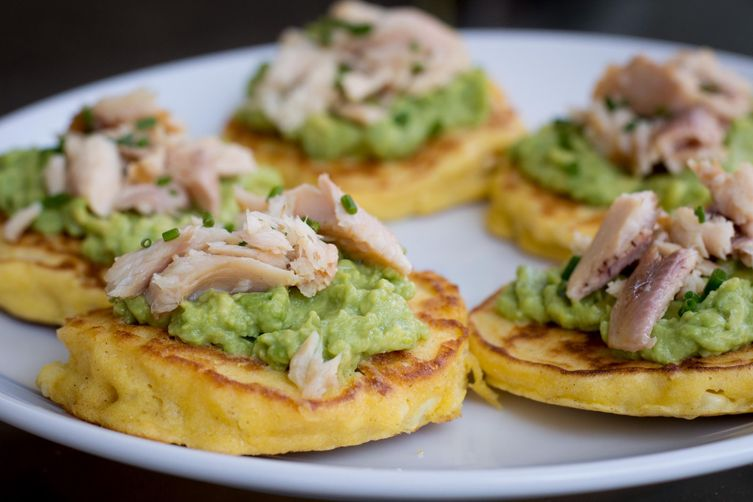 Corn Cakes with Avocado and Smoked Trout