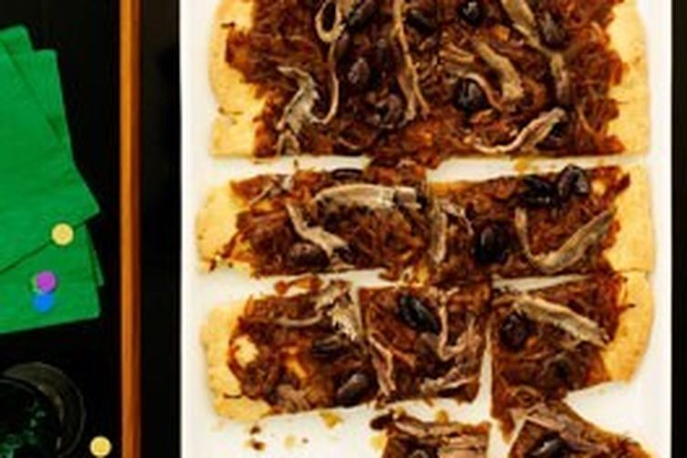 Sweet Onion Confit, Anchovies and Capers on Crispy Phyllo