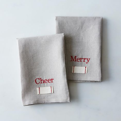Stitched Holiday Heirloom Tea Towels (Set of 2)