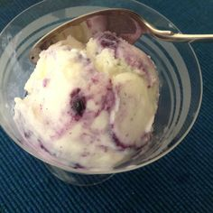 Vanilla and Bay Leaf-Scented Ice Cream with a Blueberry Swirl