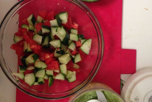 Cucumber, Tomato, and Snap Pea Salad with an Avocado and Dill Dressing: