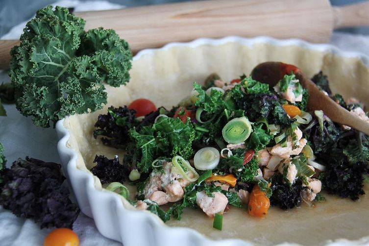 Saffron salmon quiche with kale and flower sprouts
