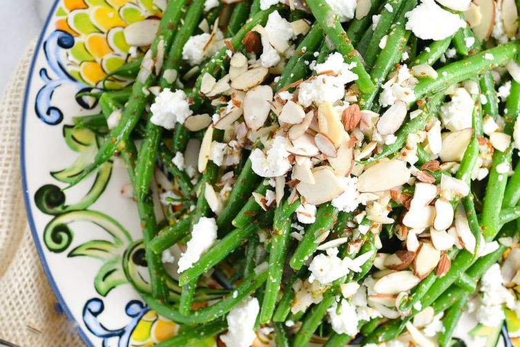 Haricot Verts with Goat Cheese and Almonds