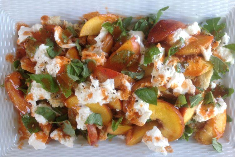 Spicy Peach Panzanella