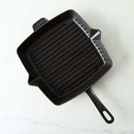 Staub Large Cast Iron Square Grill Pan and Press